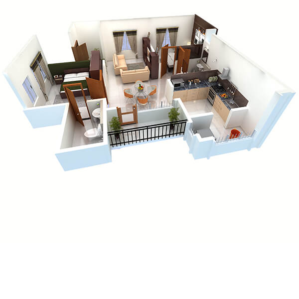2 BHK Apartments Floor Plan Perspective View
