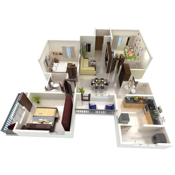 3 BHK Apartments Floor Plan Perspective View