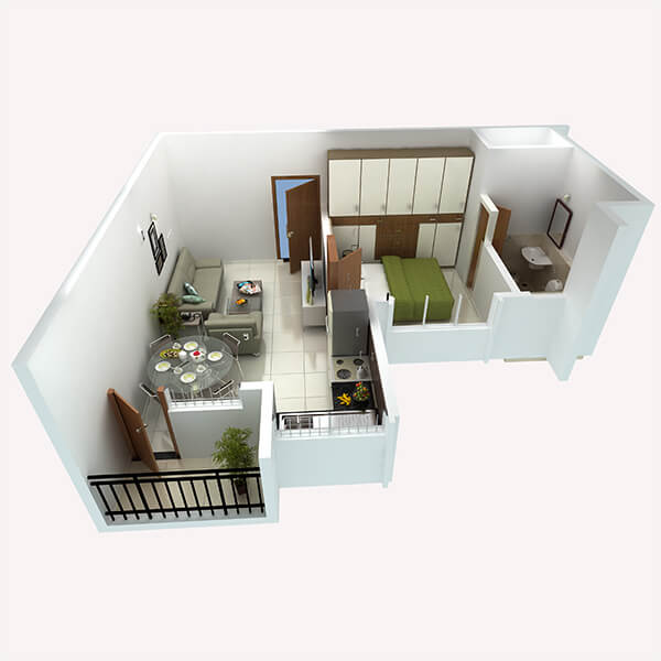 1 BHK Apartments Floor Plan Perspective View